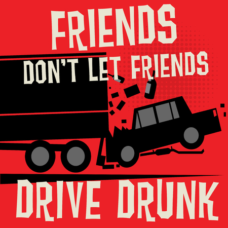 Stop Drunk Driving Accidents poster, vector illustration Illustration