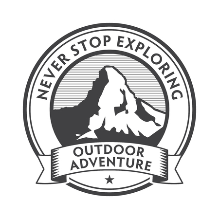 Vintage label, badge, stamp, logo or emblem with text Outdoor Adventure, Never Stop Exploring, vector illustration