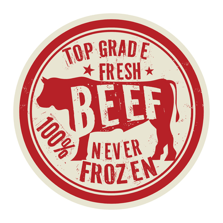 Beef stamp or label text Top Grade Fresh Beef Never Frozen, vector illustration