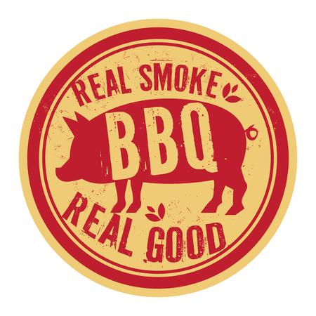 Pork stamp or label text Real Smoke, Real Good BBQ, vector illustration