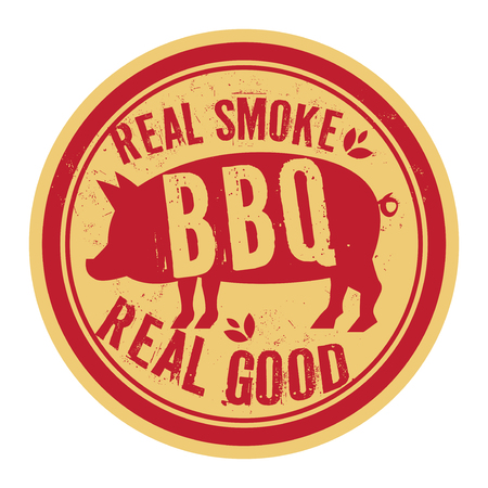 Pork stamp or label text Real Smoke, Real Good BBQ, vector illustration