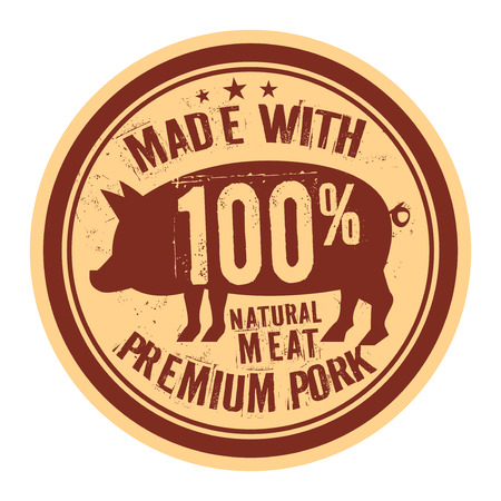 Pork stamp or label text Made With Premium Pork, vector illustration Illustration