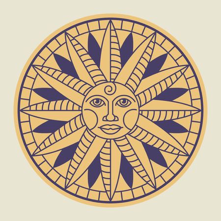Vintage sun face compass rose, vector illustration