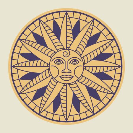 Vintage sun face compass rose, vector illustration
