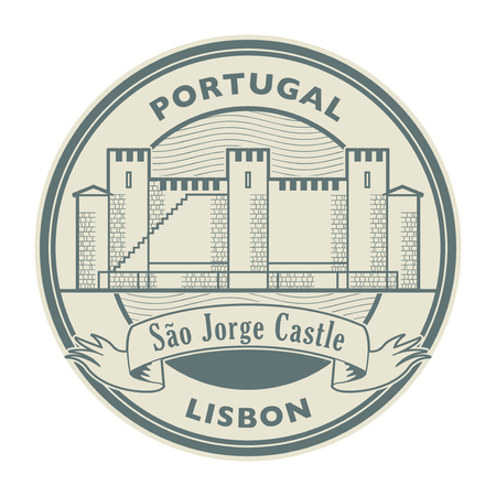 Abstract rubber stamp with Saint George Castle and words Lisbon, Portugal inside, vector illustration Stock fotó - 119914532
