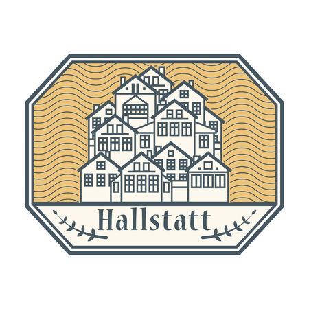 Abstract rubber stamp with words Hallstatt, Austria inside, vector illustration