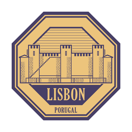 Abstract rubber stamp with Saint George Castle and words Lisbon, Portugal inside, vector illustration