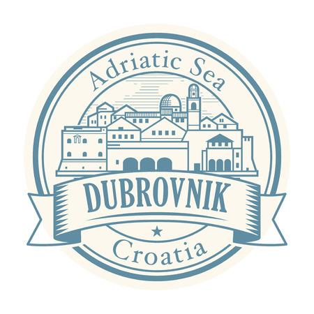 Abstract rubber stamp with Dubrovnik, Croatia olt town inside, vector illustration Illusztráció