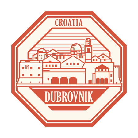 Abstract rubber stamp with Dubrovnik, Croatia olt town inside, vector illustration 일러스트