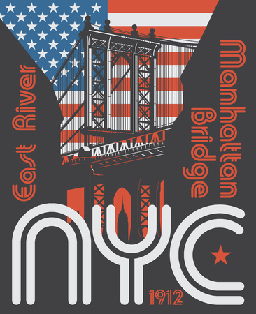 Manhattan bridge, New York city, silhouette illustration in flat design, t-shirt print design or poster, vector illustration 向量圖像