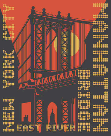 Manhattan bridge, New York city, silhouette illustration in flat design, t-shirt print design or poster, vector illustration Illustration