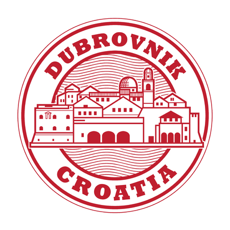Abstract rubber stamp with Dubrovnik, Croatia olt town inside, vector illustration Çizim
