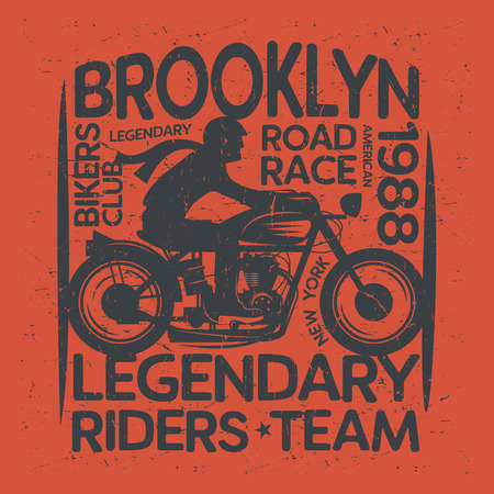 Biker riding a motorcycle label or poster with text Brooklyn, Bikers Club. Bikers event or festival emblem. Vector illustration