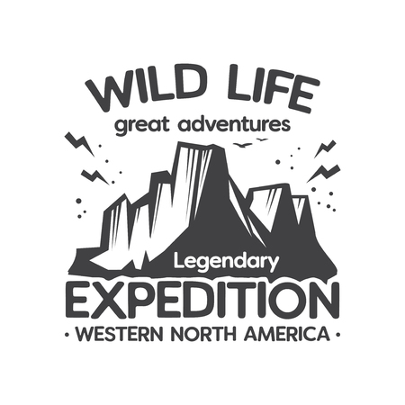 Vintage label, badge, stamp, logo or emblem with text Wild Life Expedition, Great Adventures, vector illustration