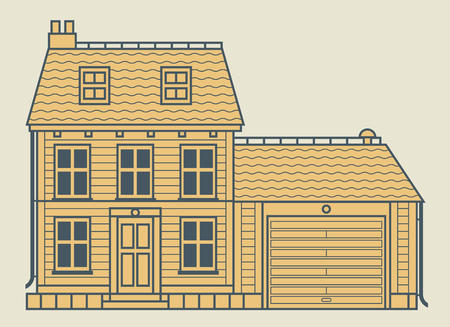 Home house in flat design style. Residential house, vector illustration