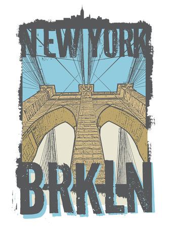 Brooklyn bridge, New York city, silhouette illustration in flat design, t-shirt print design or poster, vector illustration Ilustração