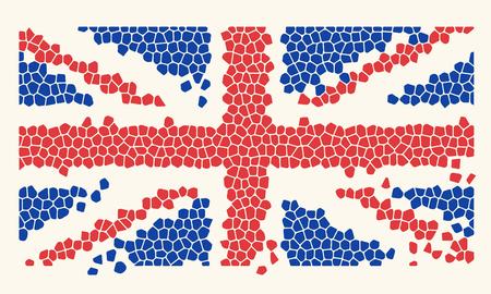 Mosaic Tiles United Kingdom Flag, vector illustration
