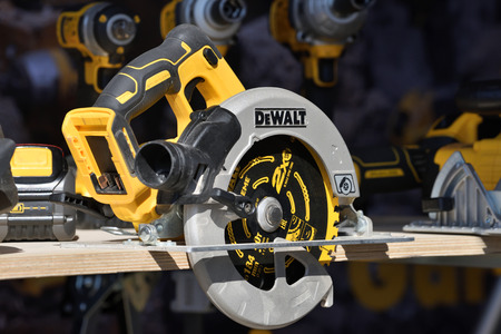 Kaunas, Lithuania - April 04: DeWalt power tools in Kaunas on April 04, 2019. DeWalt is an American worldwide brand of power tools and hand tools for the construction Редакционное