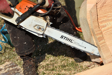 Kaunas, Lithuania - April 04: Stihl chainsaw in Kaunas on April 04, 2019. Stihl is a German manufacturer of chainsaws and other handheld power equipment