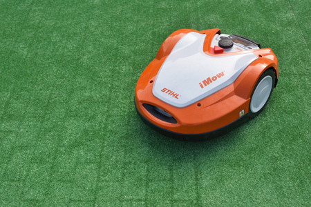 Vilnius, Lithuania - April 25: iMow Robotic Lawn Mower from Stihl in Vilnius on April 25, 2019