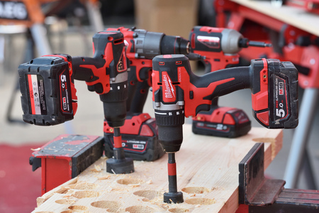 Vilnius, Lithuania - April 25: Milwaukee power tools on April 25, 2019 in Vilnius Lithuania. The Milwaukee Electric Tool Corporation produces power tools and hand tools Editorial