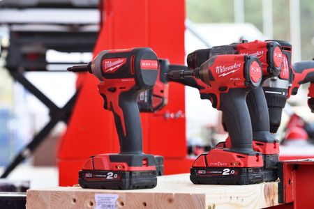 Vilnius, Lithuania - April 25: Milwaukee power tools on April 25, 2019 in Vilnius Lithuania. The Milwaukee Electric Tool Corporation produces power tools and hand tools