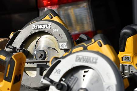 Vilnius, Lithuania - April 25: DeWalt power tools in Vilnius on April 25, 2019. DeWalt is an American worldwide brand of power tools and hand tools for the construction