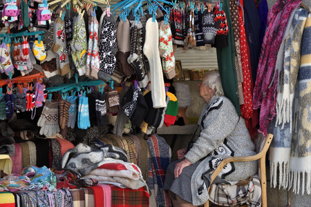 Vilnius, Lithuania - May 18: Unknown people trade souvenirs in Vilnius Old Town on May 18, 2019 in Vilnius Lithuania. Vilnius is the capital of Lithuania and its largest city.