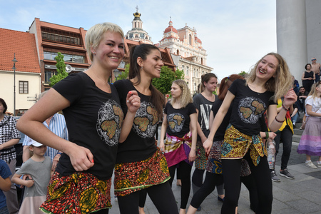Vilnius, Lithuania - May 18: Unidentified musicians play drums and dancing in Street Music Day on May 18, 2019 in Vilnius Lithuania. Vilnius is the capital of Lithuania and its largest city.