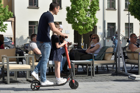 Vilnius, Lithuania - May 18: Unidentified people in Vilnius Old Town on May 18, 2019 in Vilnius Lithuania. Vilnius is the capital of Lithuania and its largest city.