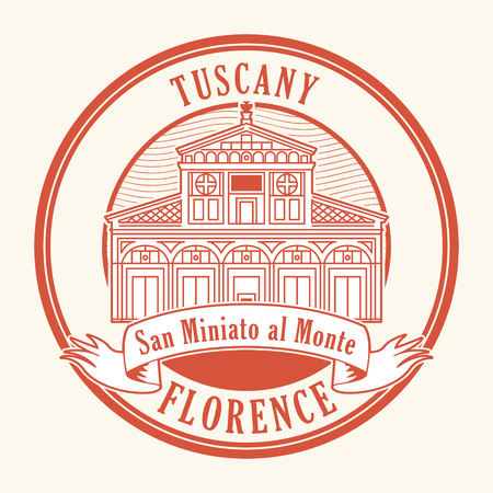 Abstract rubber stamp with San Miniato al Monte (St. Minias on the Mountain) basilica in Florence, central Italy, Tuscany inside, vector illustration Ilustração