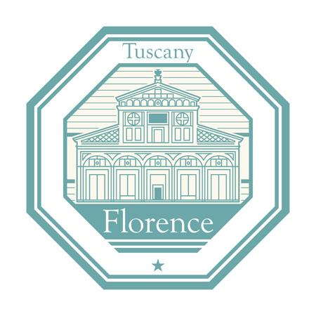Timbro di gomma astratta con la basilica di San Miniato al Monte (San Miniato sulla montagna) a Firenze, Italia centrale, Toscana all'interno, illustrazione vettoriale