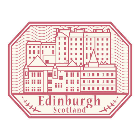 Abstract rubber stamp with Edinburgh old town, and text Edinburgh, Scotland inside, vector illustration