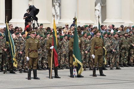 Vilnius, Lithuania - June 01: Celebration in the Cathedral Square, solemn riflemens formation on June 01, 2019 in Vilnius, Lithuania.