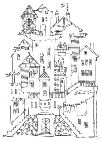 Old Fairytale Castle with towers hand-drawn, vector illustration Stock fotó - 128892797