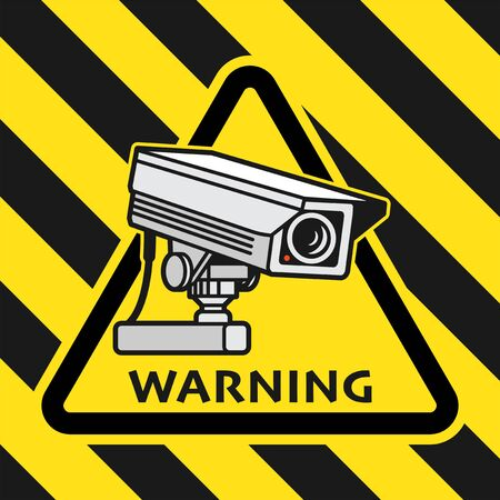 Surveillance CCTV video camera sign or symbol, vector illustration
