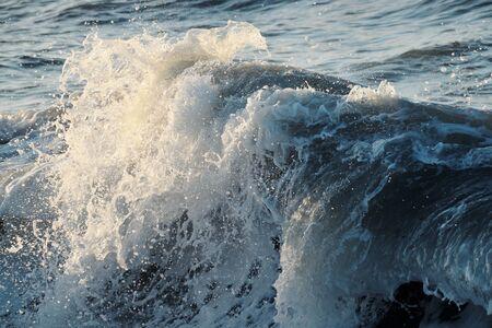 Wave breaks during the storm on Mediterranean coast