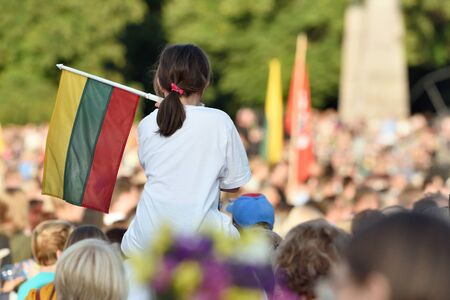 Girl Hold Lithuanian Flag, Vilnius, Lithuania