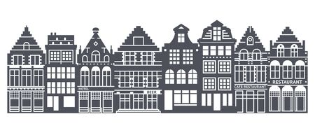Europe house or apartments set. Cute architecture in Netherlands. Vector illustration Ilustrace