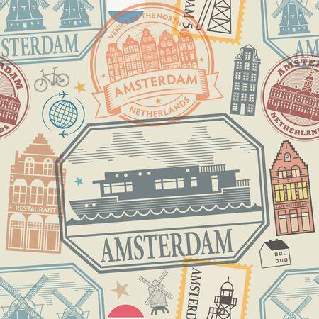 Travel stamps or symbols set Amsterdam, Netherlands, Europe theme seamless pattern, vector illustration Illustration