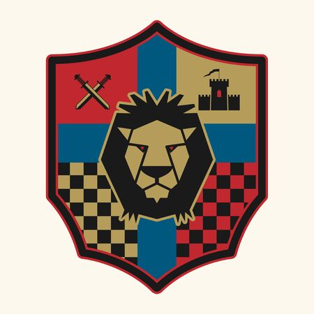 Royal Lion shield design, abstract vector illustration Illustration