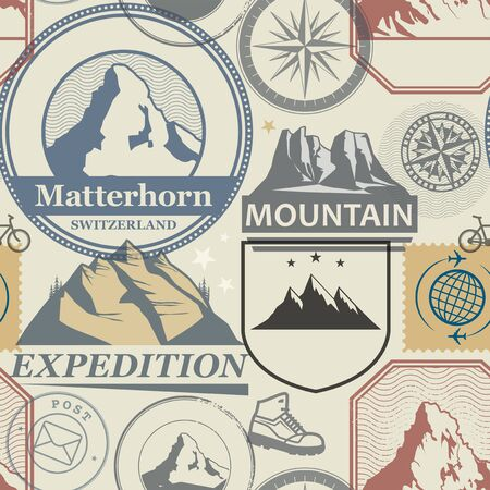 Mountain adventure stamps or symbols set abstract theme seamless pattern, vector illustration Banco de Imagens - 130109101