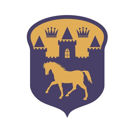 Castle, Crown and Horse silhouettes, shield design, abstract vector illustration Vektorgrafik