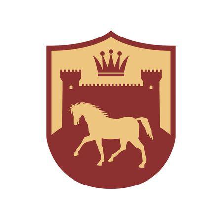 Silhouetten von Burg, Krone und Pferd, Schilddesign, abstrakte Vektorillustration Vektorgrafik