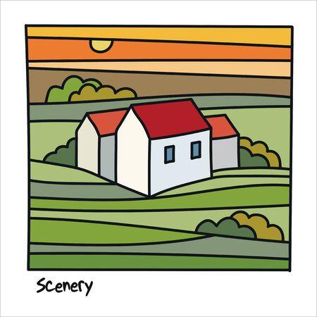 Summer field landscape. Nature hills fields. Rural land. Abstract vector illustration