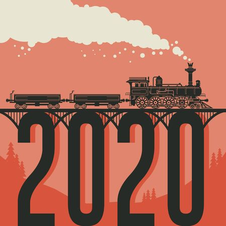 Christmas card with a vintage steam locomotive train. Vector illustration
