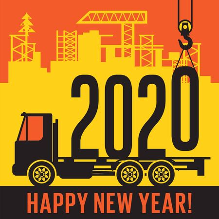 Crane loads New Year 2020 in to truck, text happy New Year, vector illustration Illustration