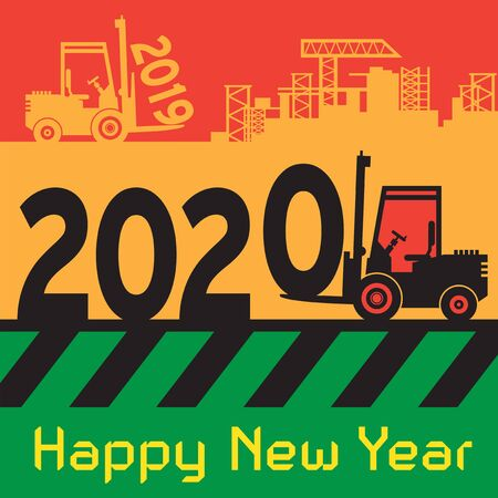 Happy New Year greeting card - fork lift truck at work, vector illustration Vettoriali
