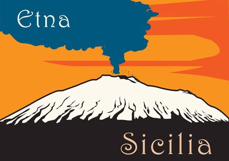 Mount Etna Volcano with smoke in Sicily island, Italy, Europe Illustration
