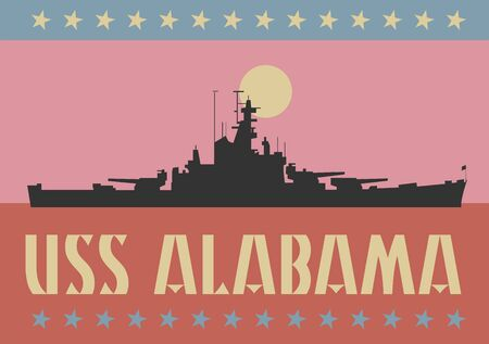 USS Alabama battleship in Mobile Bay in Alabama, United States Illustration